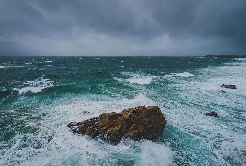 Rocks, Ocean, Waves, Horizon, Coast, Water, Brittany