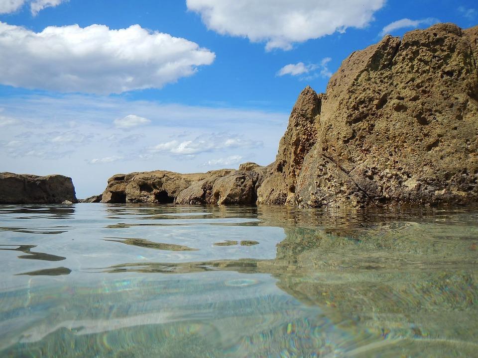 Sea, Rocks, Clouds, Blue Sky, Calm Sea