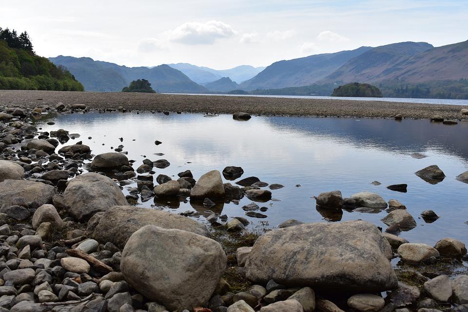 Derwentwater, Lake, Reflection, Lake District, Rocks