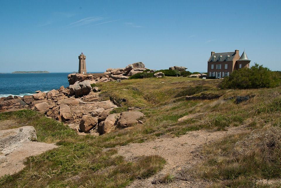 Brittany, Ploumanach, Lighthouse, Granite, Rocks, Lande