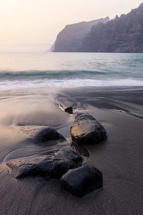 Sea, Black Sand, Stones, Rocks, Long Exposure, Outdoors