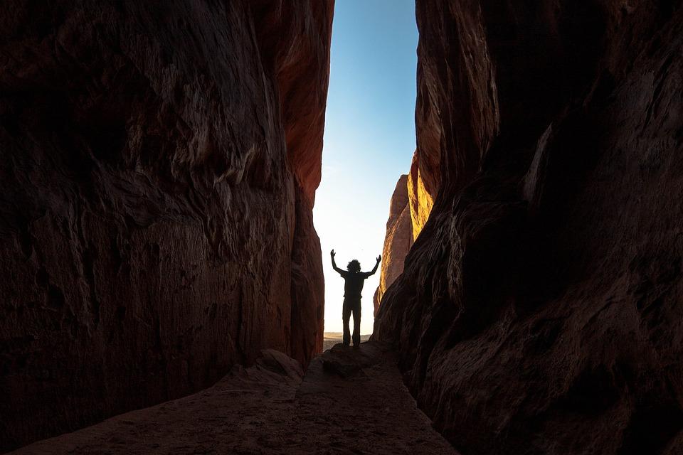 Canyon, Gorge, Silhouette, Man, Rocks