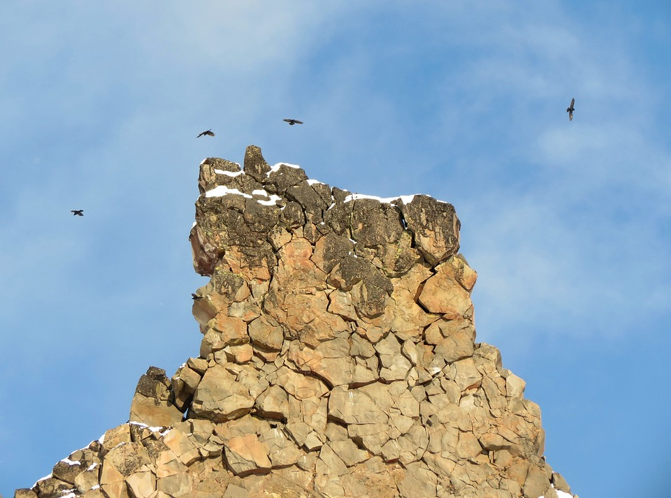 Rocks, Stones, Mountains, Birds, Height, Flight, Nature