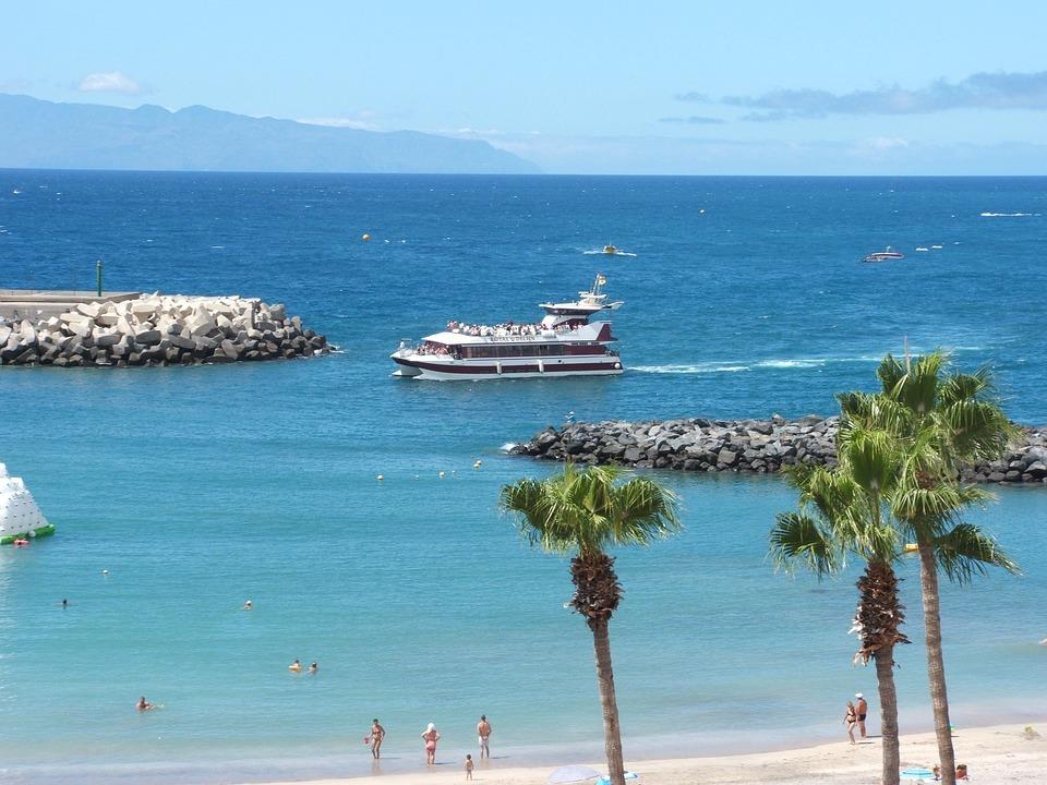 Boat, Ship, Beach, Sea, Ocean, Palms, Palm Trees, Rocks