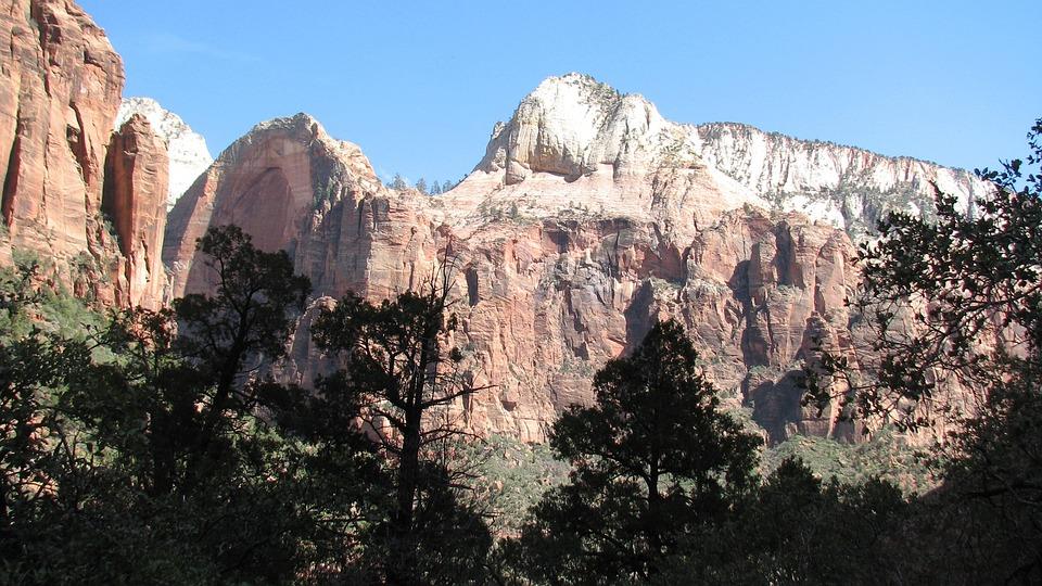 Mountains, Rocky, Rocks, Bright, Trees, Blue Sky