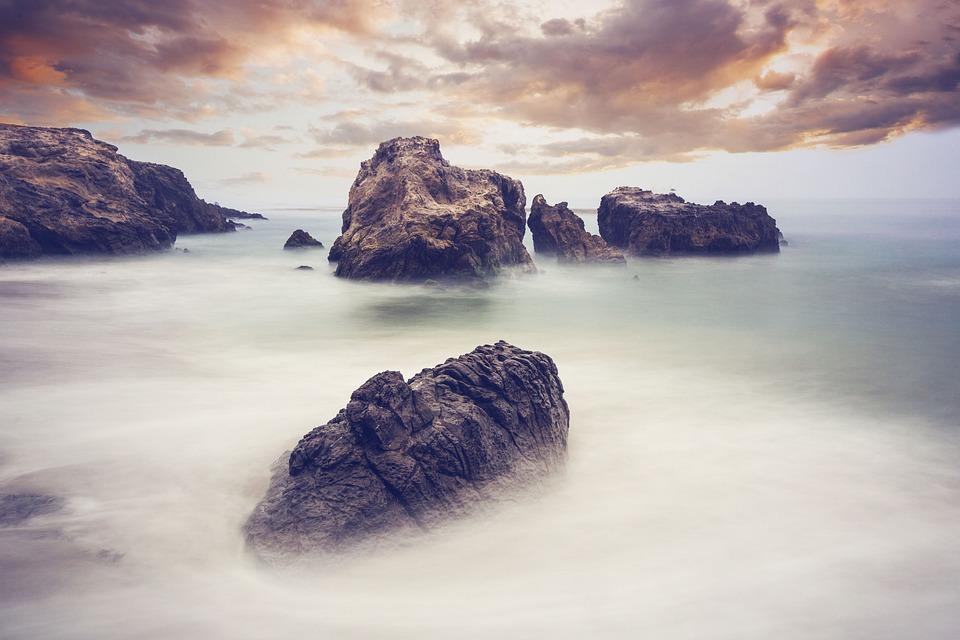 Rocks, Water, Haze, Shore, Seashore, Beach, Rocky Coast
