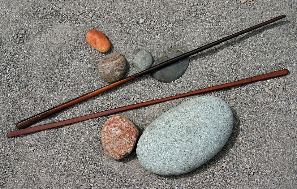 Rocks, Sticks, Wood, Art, River, Sand, Beach, Brown