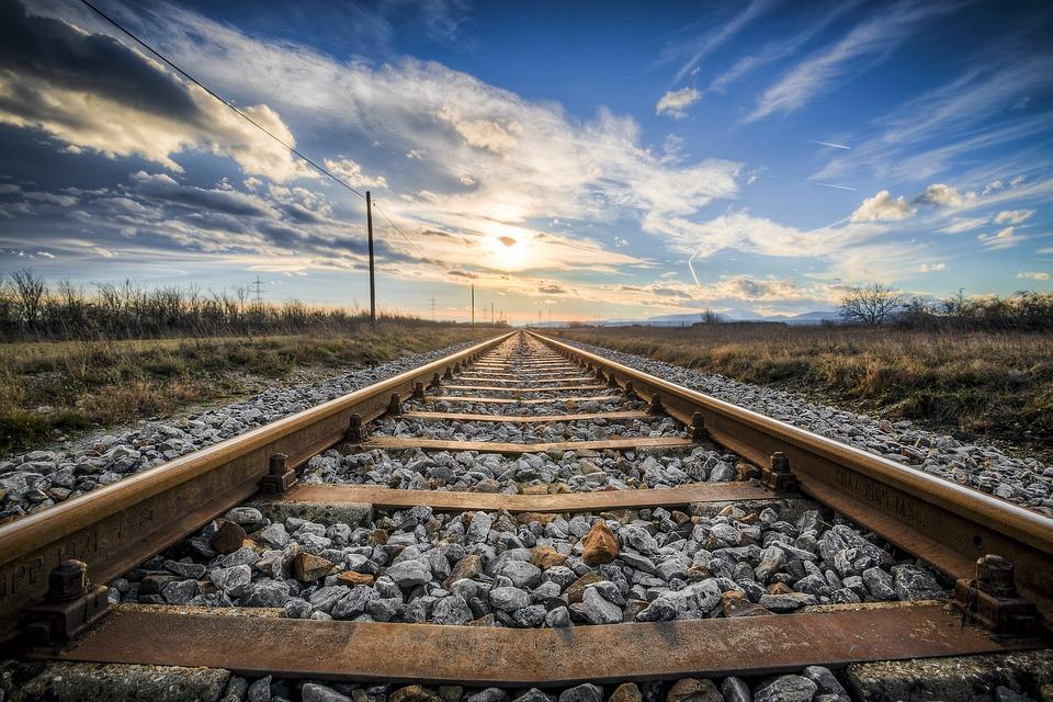 Railway, Rocks, Sunset, Sun, Sunlight, Track, Rail