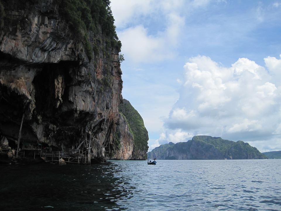 Sea, Thailand, Krabi, Rocks