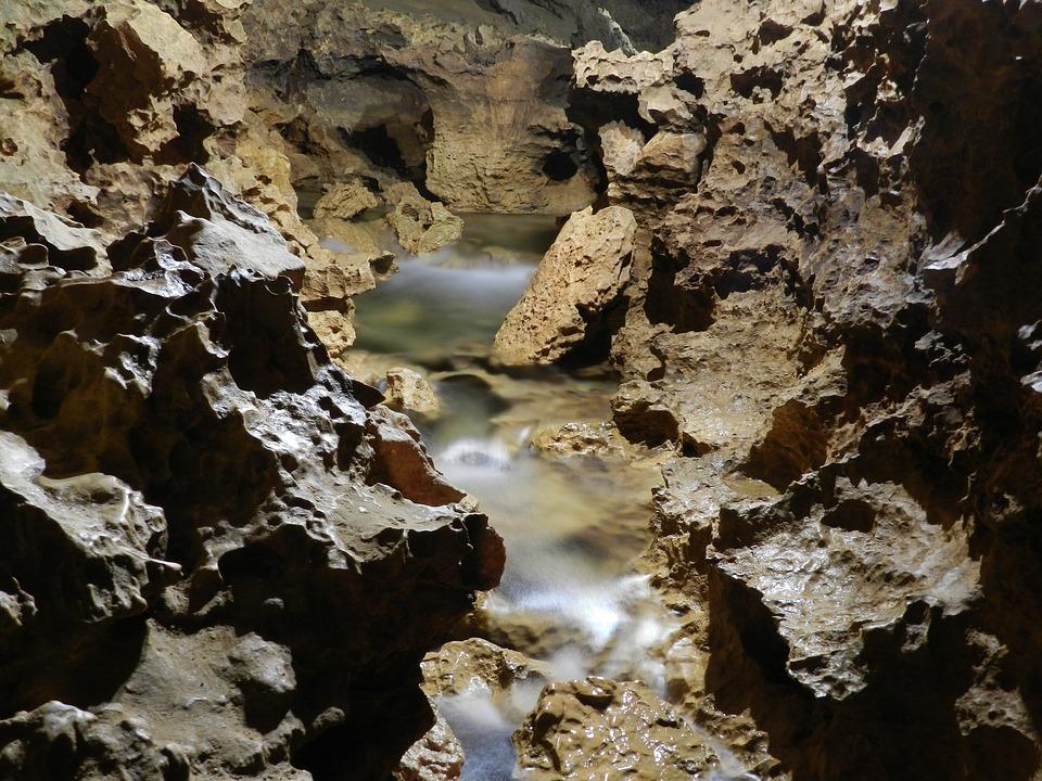 Cave, Underground River, Rocks