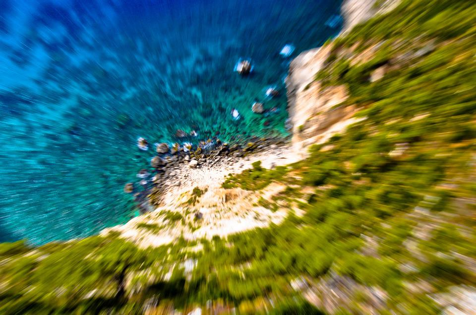 Vertigo, Falling, Coast, Rocks, Cliff, Zooming, Sea