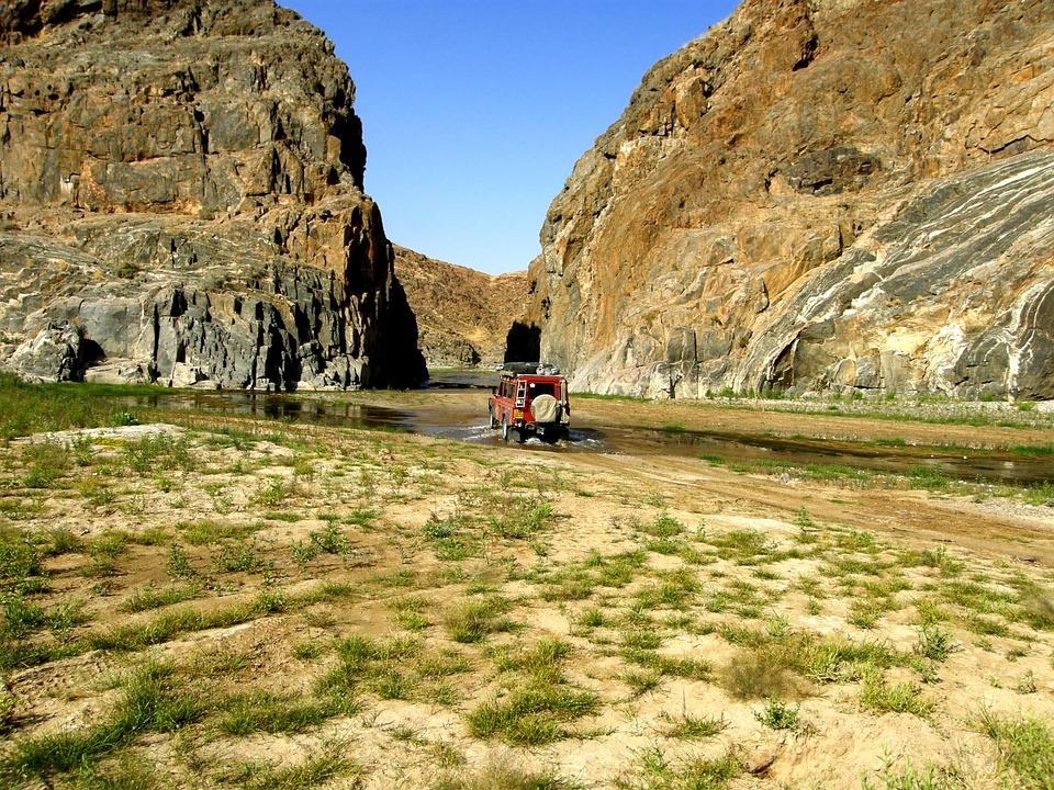 Vehicle, Rocks, Water, Cliffs, Hills, Stone, Desert