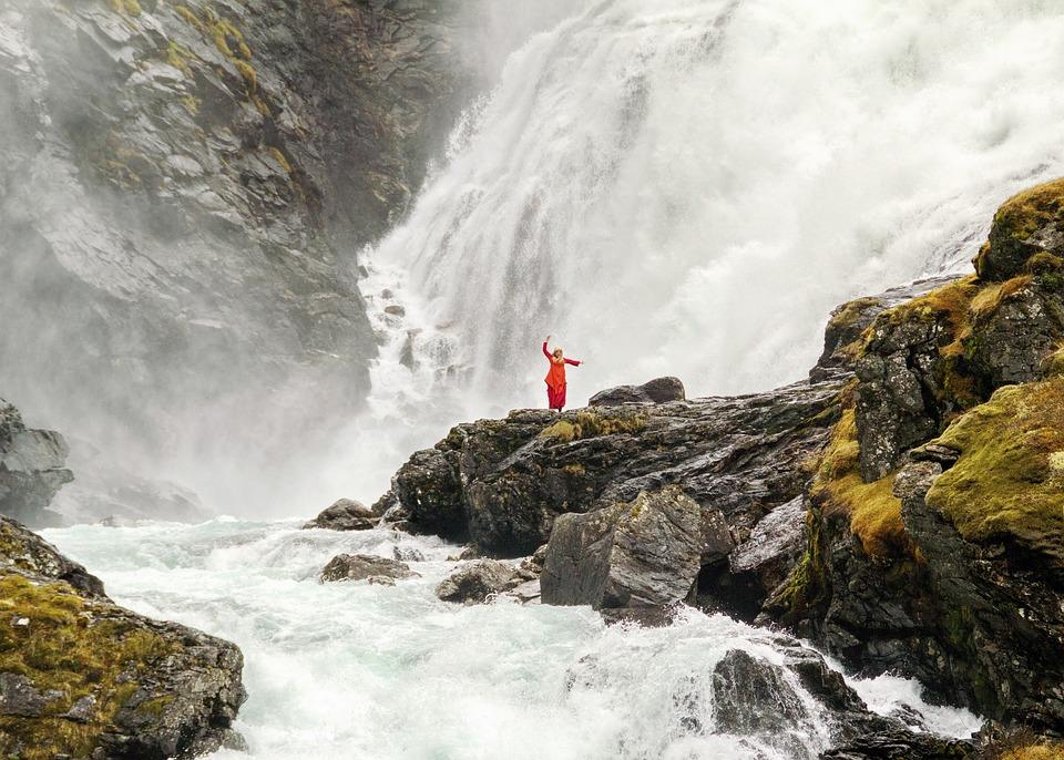 Dancer, Waterfall, Norway, Rocks, Landscape, Wilderness