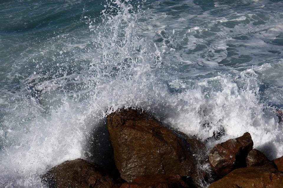 Wave, Rocks, Sea
