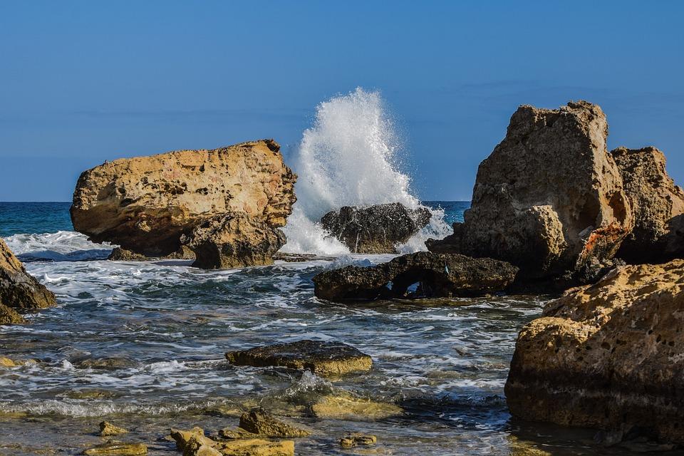 Rocky Coast, Rock, Seashore, Sea, Splash, Wave, Nature