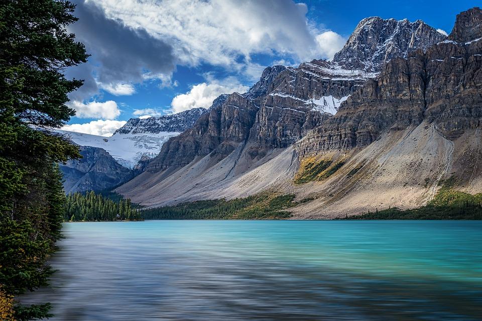 Bow Lake, Lake, Mountains, Water, Rocky Mountains