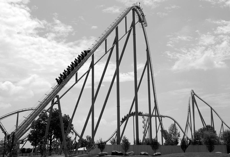 Roller Coaster, Ride, Thrill, Monochrome