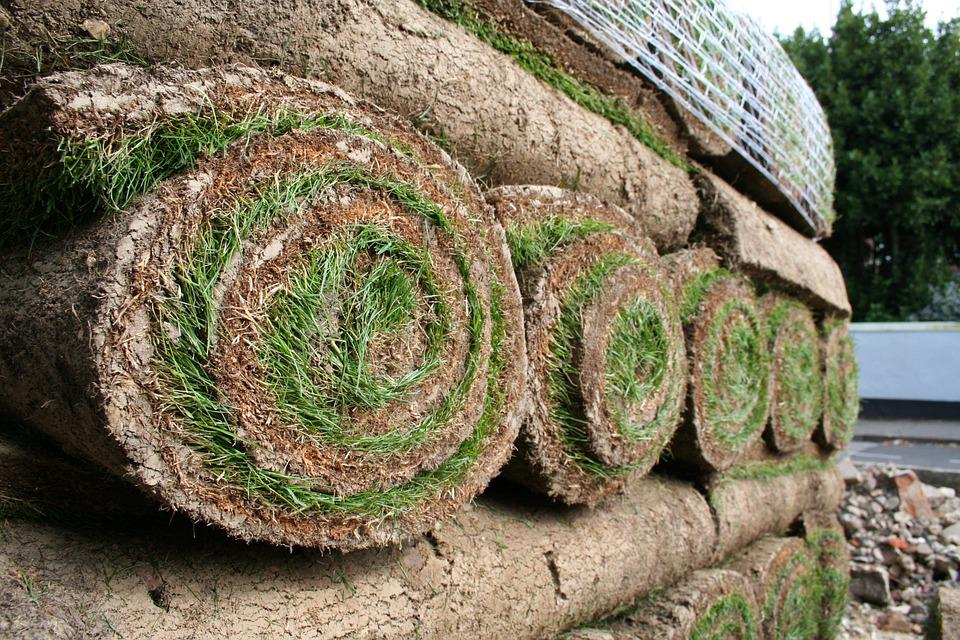 Turf, Grass, Green, Lawn, Gardening, Rolls, Stacked