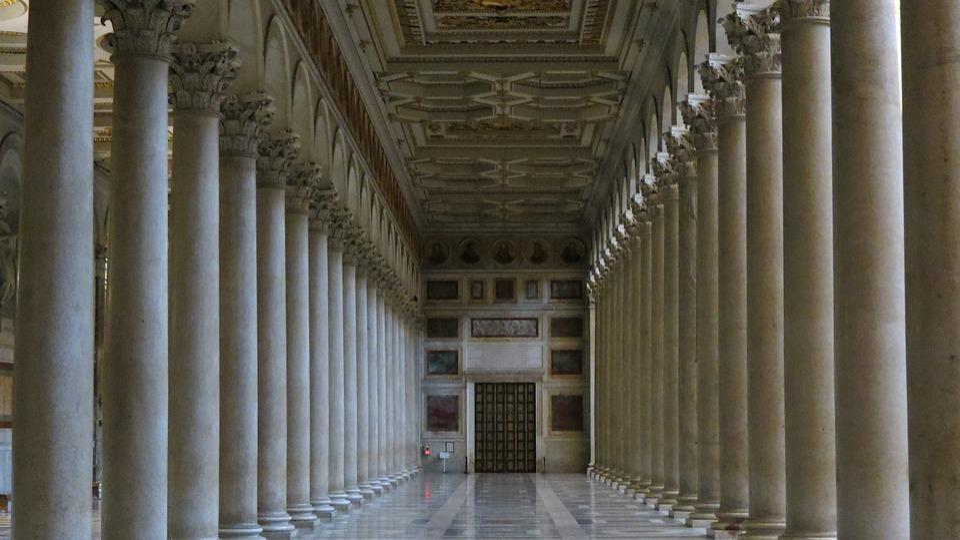 Church, Columns, Roman, Catholic
