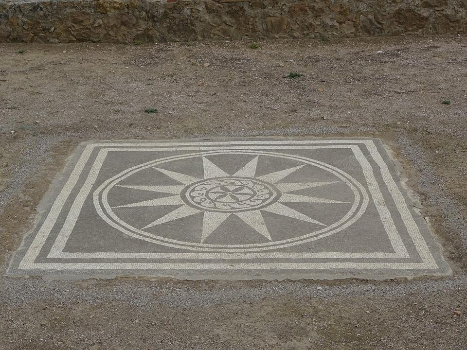 Roman Mosaic, Mosaic, Ruins Of Ampurias, Roman Ruins