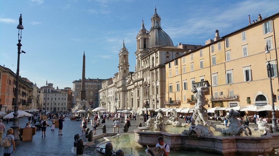 Rome, Navona, Italy, Fountain, Roman, Bernini, Neptune