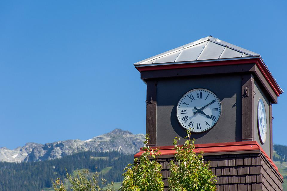 Clock, Roman Numeral, Tower Clock, Scenery, Mountains