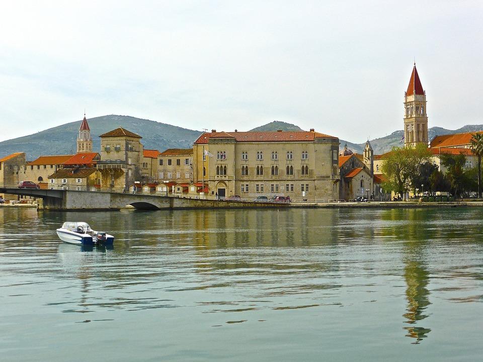 Seaside, Trogir, Townscape, Roman, Water, Reflection