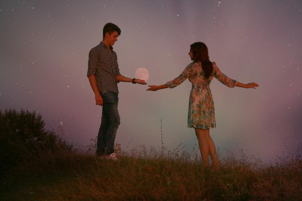 Couple, Luna, In The Evening, Love, Romance