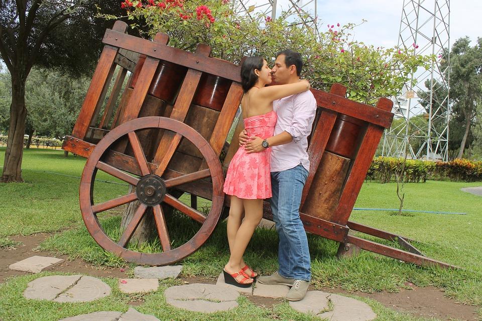 Couple, Kiss, Park, Bride, Love, Romantic, Romance