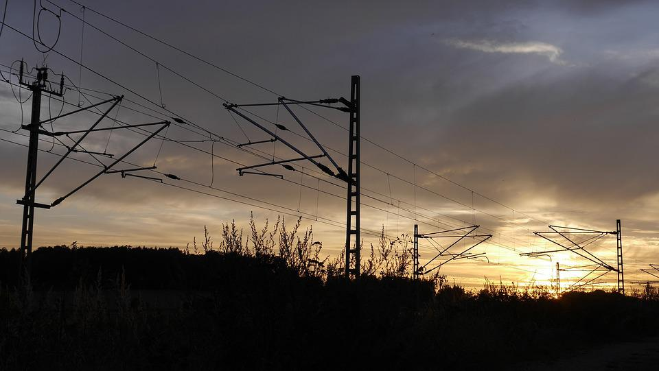 Sunset, Railway Embankment, Train, Evening, Romance