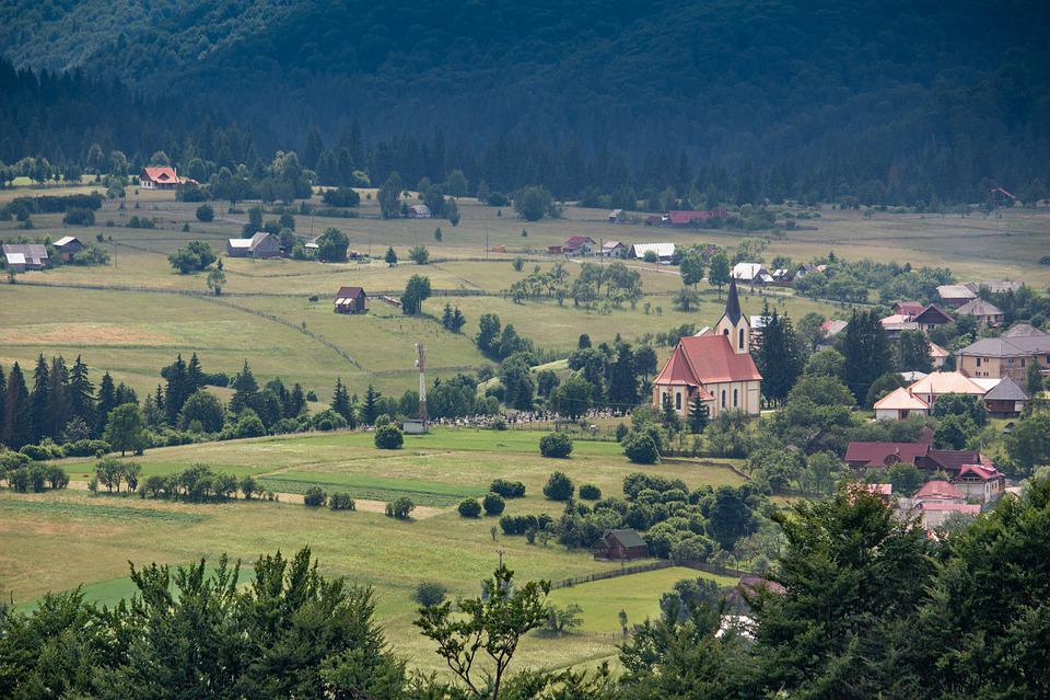 Mountain Village, Transylvania, Romania, Landscape