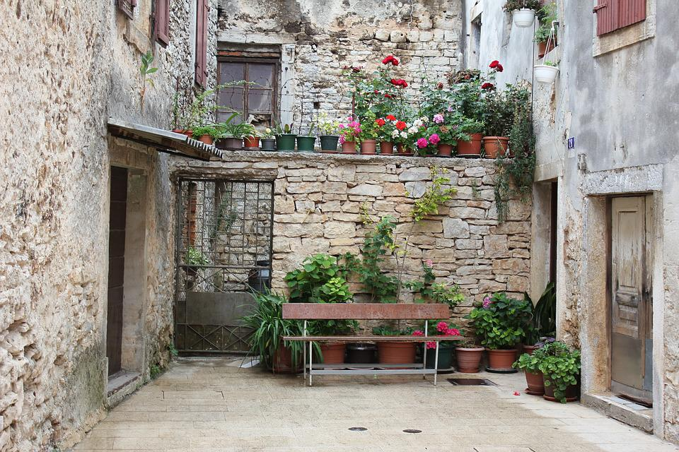 Croatia, Bank, Flowers, Backyard, Planters, Romantic