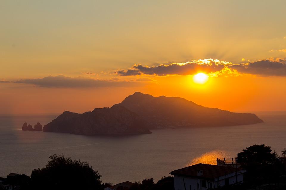 Italy, Sunset, Capri, Mediterranean, Holiday, Romantic