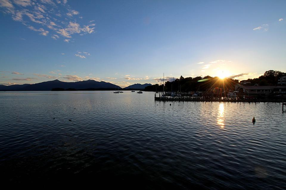 Sunset, Chiemsee, Dusk, Romantic, Evening