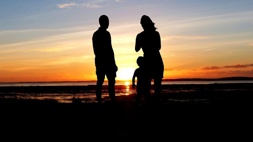 Sunset, Couple, Child, Love, Romance, People, Romantic