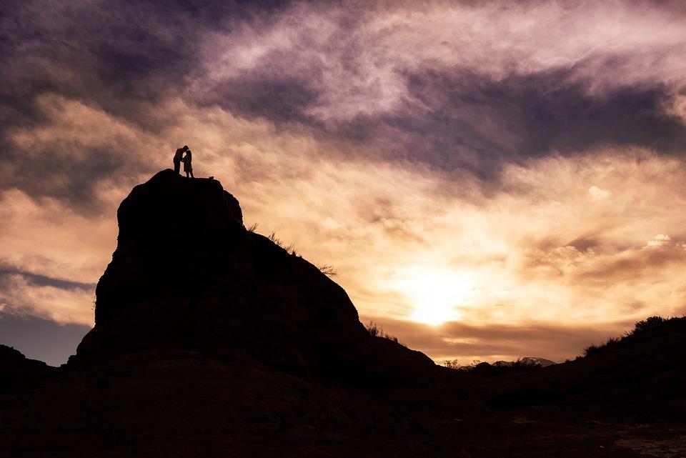 Landscape, Silhouette, Dawn, Couple, Romantic