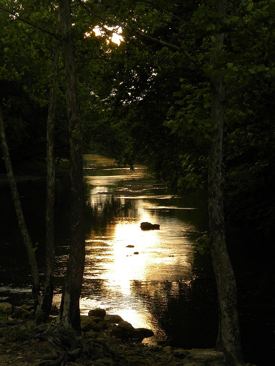 Dark, Sunset, Water, River, Scenic, Romantic