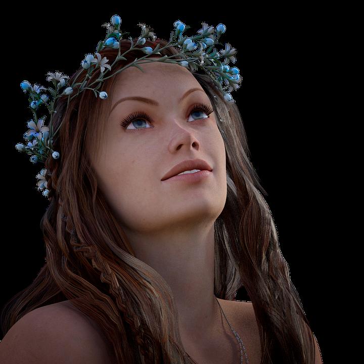 Woman, Floral Wreath, Romantic, Hair, Face