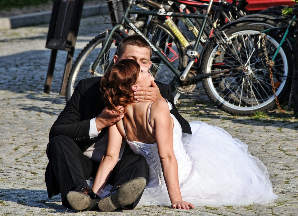 Bride And Groom, Love, Kiss, Heart, Romantic, In Love