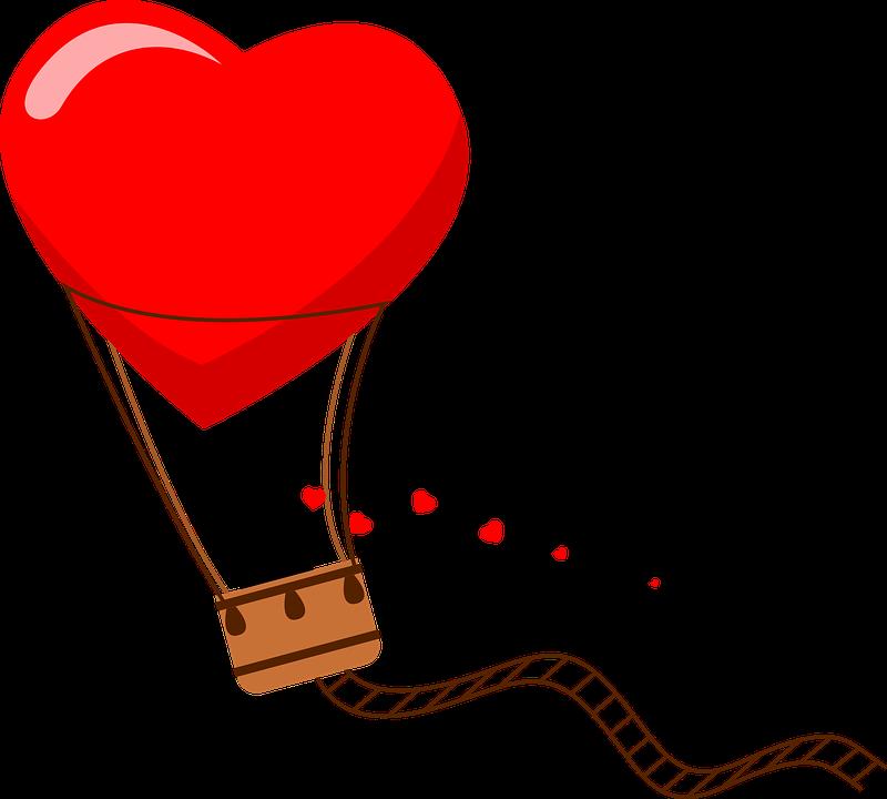 Hot Air Balloon, Couple, Hearts, Romantic, Valentine