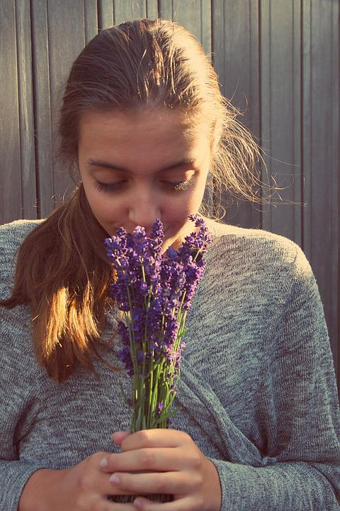 Girl, Lavender, Long Hair, Romantic, Young, In Love
