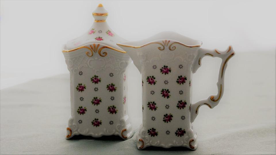 Sugar Bowl, Milk Jug, Porcelain, Romantic, Old