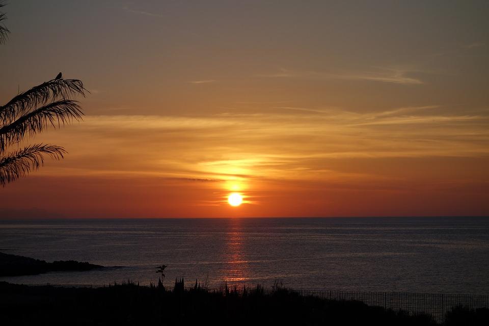 Beach, Sun, Sea, Romantic, Water, Sunset, Abendstimmung