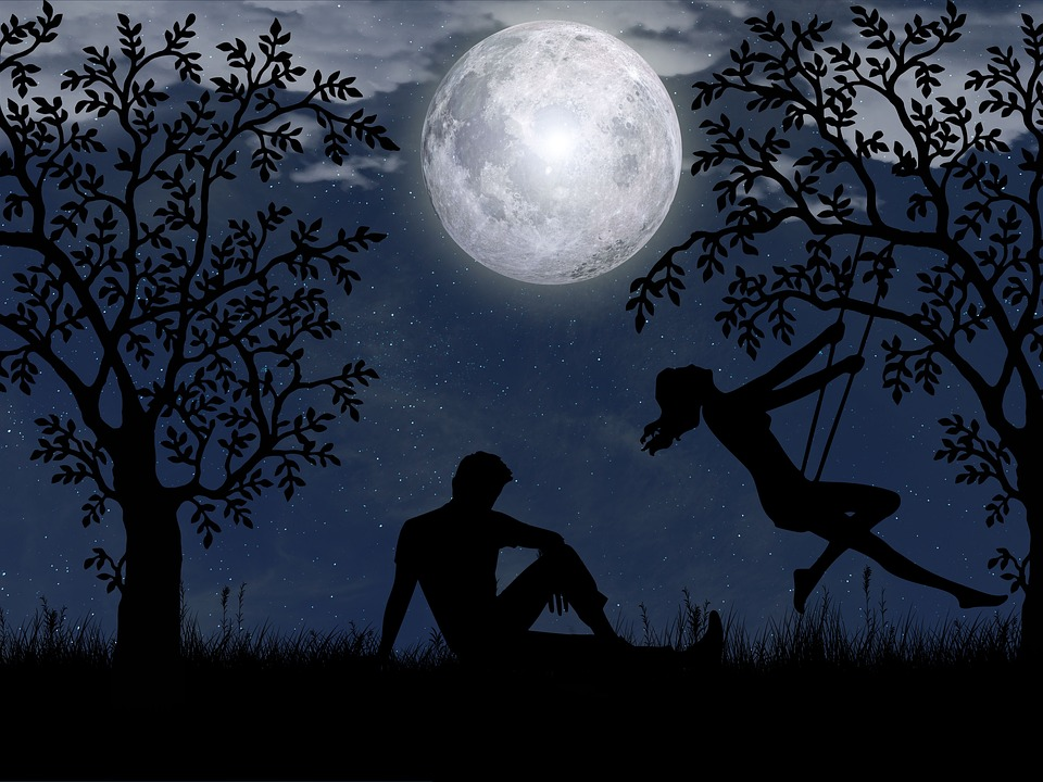 Love, Romantic, Night, Moon, Silhouette, Relationship