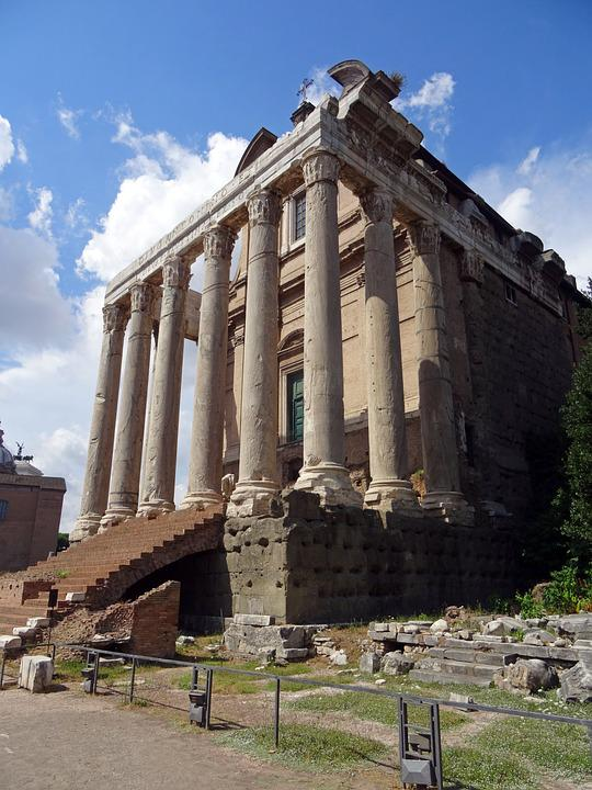 Rome, Italy, Antique, Architecture, Buildings, Temple