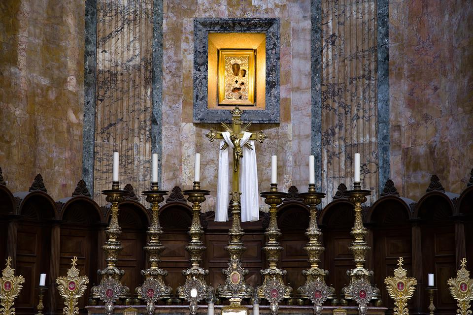 Pantheon, Rome, Altar, Marble, Icon, Virgin Mary, Cross