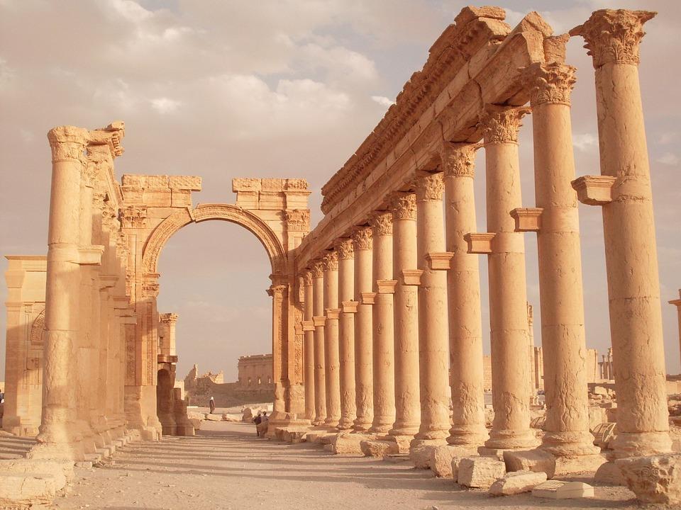 Palmyra, Rome, Syria, Colonnade, Excavations