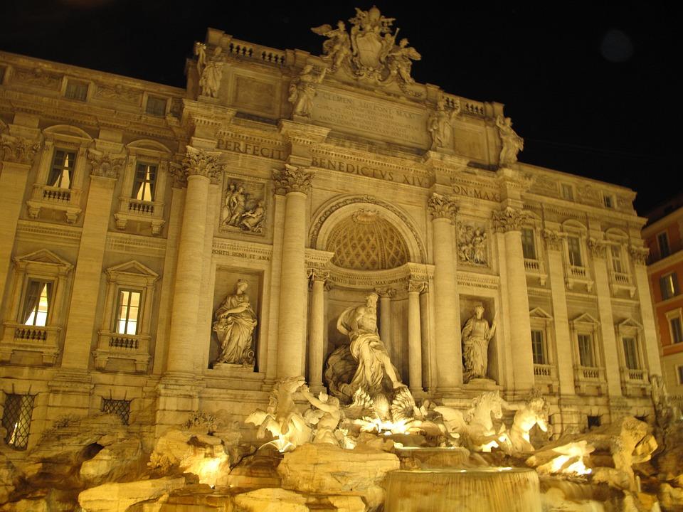 Fountain Radicchio, Rome, Night, Italy