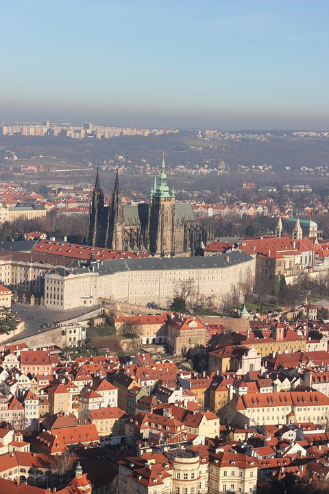 Prague, Cathedral, Roof, City