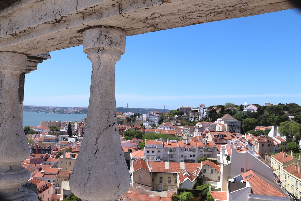 View, Portugal, Lisbon, Roofs, Sun, Sky, Blue